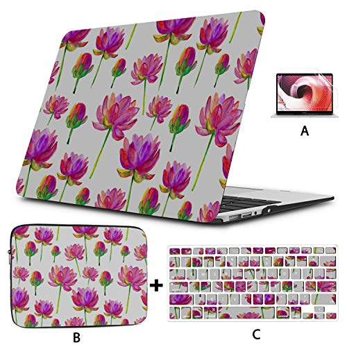 MacBook Air 13in Case Painted Lotus Summer Flower MacBook Pro 2018 Accessories Hard Shell Mac Air 11'/13' Pro 13'/15'/16' with Notebook Sleeve Bag for MacBook 2008-2020 Version