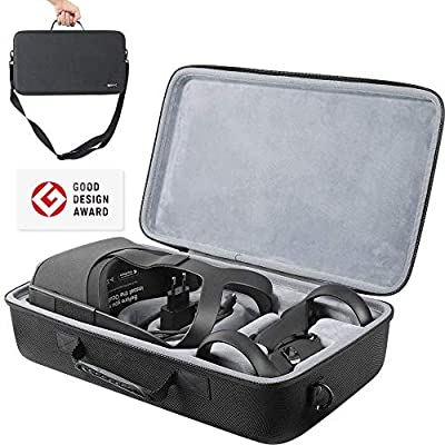 Movic SimpleTravel Carrying Travel Hard Case for Oculus Quest 2 Replacement Virtual Reality VR Gaming Headset & Controller Accessories w Strap | Water Proof Cover Shell (Black + Velvet Grey)