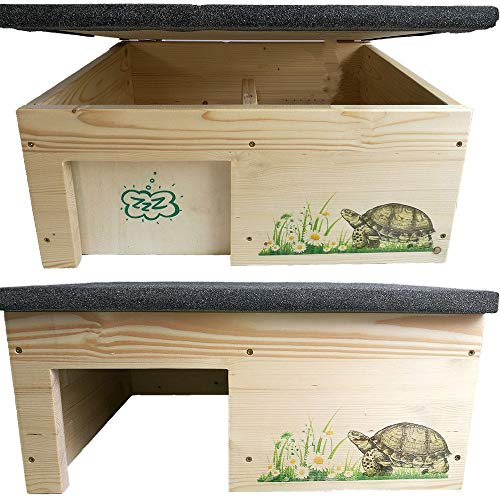 Nagerstore Schildkrötenhaus l Schutzhaus mit Windfang, Holzlasur & Aufklappbar