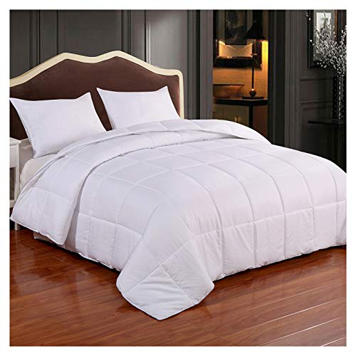 Reversible Lightweight Comforter - All Season Down Alternative Comforter King Summer Duvet Insert White Quilted Bed Comforters with Corner Tabs King Size White