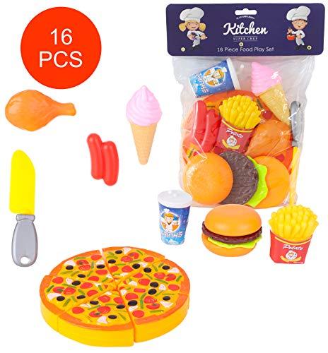 Toyland® 16-teiliges Fast-Food-Spielset - Täuschen Sie Sich vor, als ob Sie Essen würden