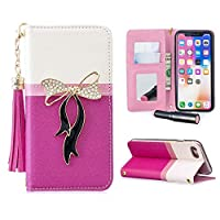 iPhone7 スマホケース iPhone8 手帳型ケース リボン アイフォン8ケース 財布型カバー キラキラ ラインストーン 高級PUレザー 化粧鏡 ミラー付き オリジナル カードポケット iPhone7ケース 全面保護 スタンド機能