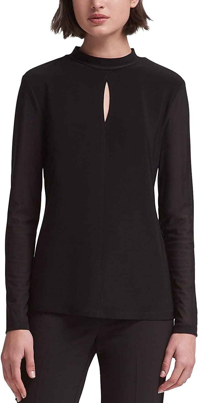 DKNY Womens Black Mesh Long Sleeve Keyhole Top, Black, Large