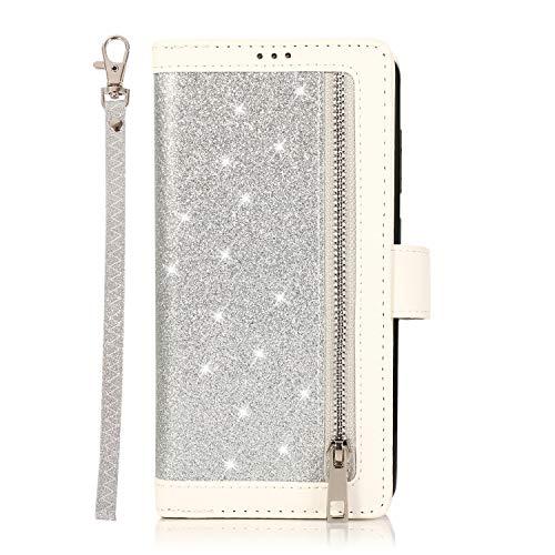 Yagook Funda de piel sintética con cremallera, brillante, con brillantes, estilo libro, con 9 ranuras para tarjetas, compatible con Samsung Galaxy A21S, color plateado
