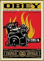 ポスター オベイ Print and Destroy/Shepard Fairey 手書きサイン入り 額装品 アルミ製ハイグレードフレーム(ゴールド)