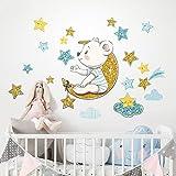 R00549 Adesivi Murali Soffice Effetto Tessuto Orsetto Decorazione Muro Bambino Neonato Nursery Cameretta Asilo Nido Carta da Parati Adesiva