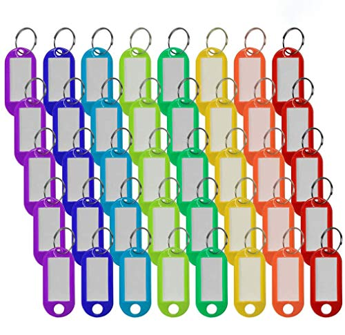 40 Pack Plastic Key Tags with Split Ring Label Window, Keychain Assorted Colors