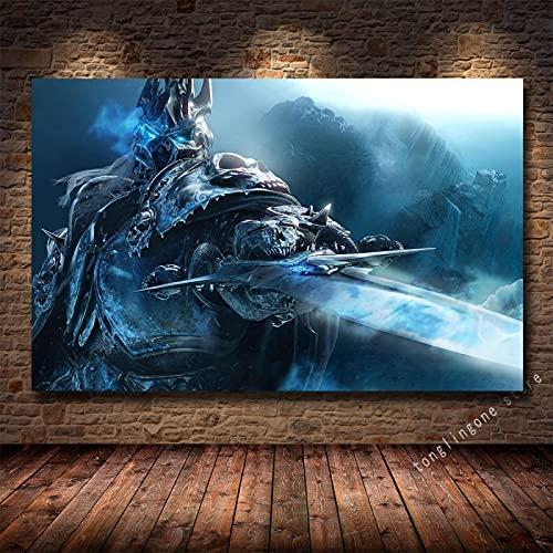 LGYJAL Pinturas en Lienzo Impresiones Póster Artístico Teldrassil Burning World of Warcraft Battle For Azeroth Juego Cuadros de Pared Decoración del hogar 50x70 cm U-744