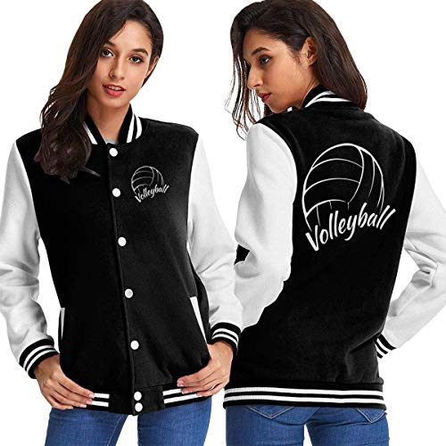 BYYKK Mujer Chaquetas Ropa Deportiva Abrigos, Love is Volleyball Women's Long Sleeve Baseball Jacket Baseball Jacket Uniform