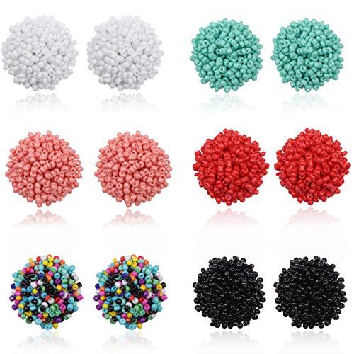FIBO STEEL 6 Pairs Seed Beaded Stud Earrings Resin Bead Earrings For Women Bohemian Statement Cluster Rainbow Seed Beads Big Round Earrings