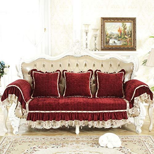 QSCV Felpa Protector De Muebles,Vintage Chaise Longue Funda Sofa Ajustables para Salon,Anti-resbalón Fundas para Sofa para 1 2 3 4 Plazas-Borgoña 1-seater65*65cm+25cm(Skirt)