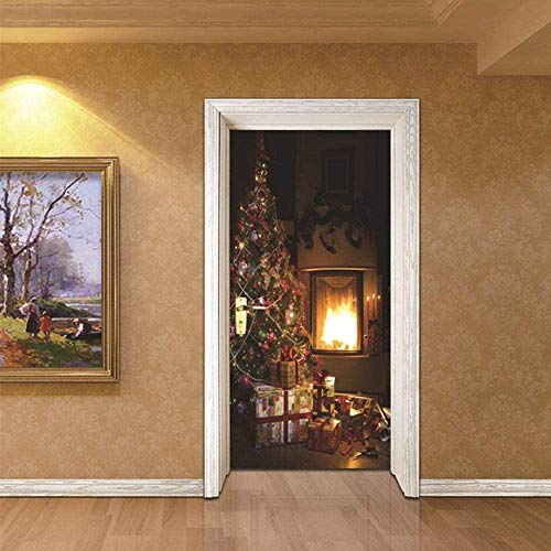 3D Tür Poster dekorative Malerei selbstklebende Türaufkleber Weihnachtsbaum und Kamin Schlafzimmer Wohnzimmer