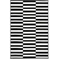 Earth Collective Outdoor Rug for Patio- Recycled Plastic Mat, Black White Stripe, Reversible, Easy Clean, Green, Waterproof, Sun Dirt Stain Proof, Beach, Picnic RV Camping (5 x 8, Black)