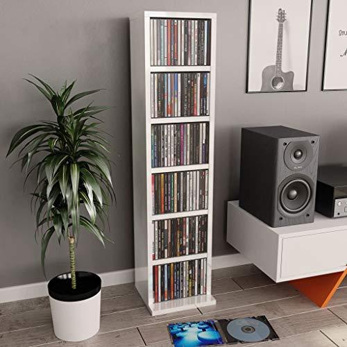 UnfadeMemory Estante Madera de CD DVD,Estante de Exhibición,6 Compartimentos Abiertos,Madera Aglomerada,21x16x88cm (Blanco Brillante)