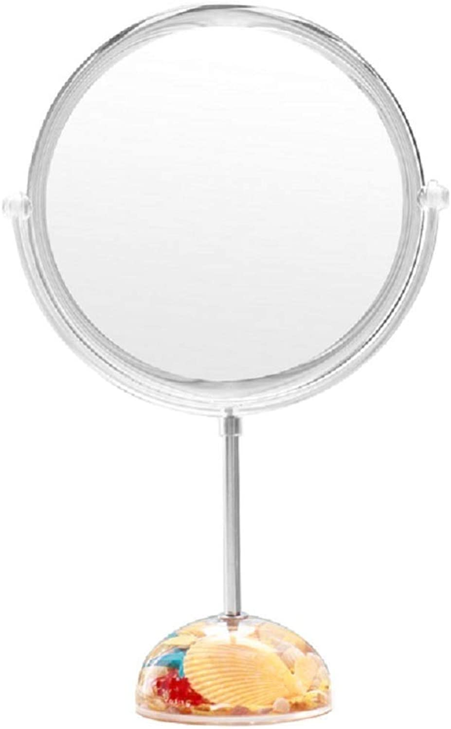 ZHILIAN& Makeup Mirror Silver Stainless Steel Simple Round Vanity Mirror HD Desktop Decorative Mirror