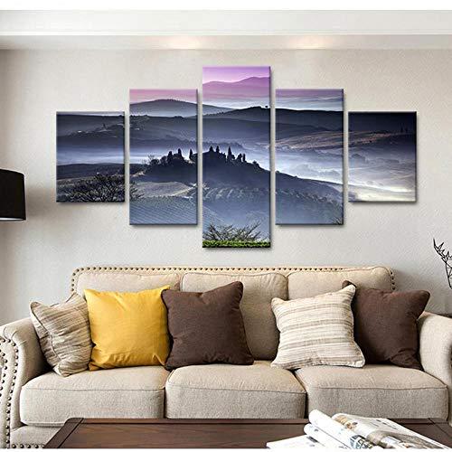 cmhai HD muurdruk poster canvas wooncultuur schilderij 5 panelen Italië Toscaanse ochtendmist landschap kunst modulaire afbeeldingen voor woonkamer 40x60cmx2 40x80cmx2 40x100cmx1