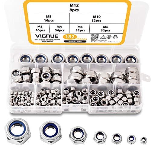 182Pz assortimento di dadi in nylon, dadi Serratura esagonale autobloccante anti-allentamento in acciaio inox 304 Dimensioni M3 M4 M5 M6 M8 M10 M12