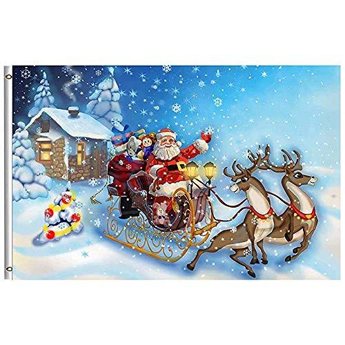 Tuinvlaggen Vrolijk Kerstmis Vlag 32X45.7CM Gelukkig Winter Vakantie Kerstman in Slee Rendier Sneeuwvlok Sneeuw Tuin Yard Huis Vlaggen Banner met Messing Grommets Outdoor Party Thuis Kerst Decoratio