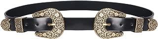 Women's Boho Metal Western Double Buckle Belt Sliver