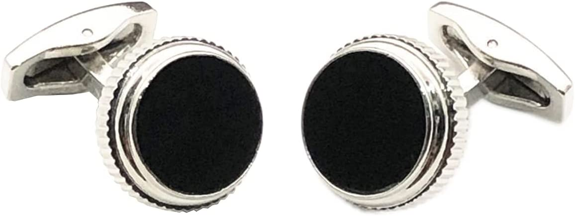 BO LAI DE Men's Cufflinks Fashion Black Round Metal Cufflinks Shirt Cufflinks Suitable for Business Events, Conferences and Dances, with Gift Box