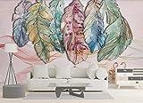 XHXI Papel pintado de cisne de línea de pluma rosa acuarela Papel pintado no tejido Mural de efecto 3D papel Pintado de pared tapiz Decoración dormitorio Fotomural-350cm×256cm