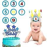 KKSJK Kinder Geburtstagskrone, Auswechselbaren Zahlen Kinderkrone von 1-9 mit Cake Topper Deko , Krone aus Stoff zum Geburtsta für Mädchen & Jungen
