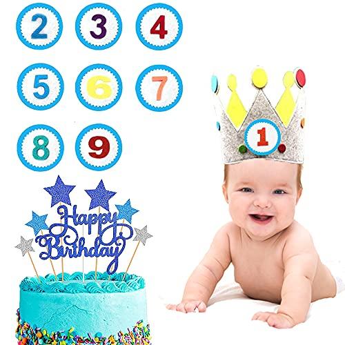 KKSJK Kinder Geburtstagskrone, Auswechselbaren Zahlen Kinderkrone von 1-9 mit Cake Topper deko, Krone aus Stoff zum Geburtsta für Mädchen und Jungs