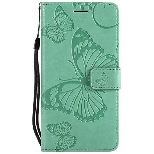 DENDICO Cover Huawei P10 Lite, Pelle Portafoglio Custodia per Huawei P10 Lite Custodia a Libro con Funzione di appoggio e Porta Carte di cRossoito - Verde