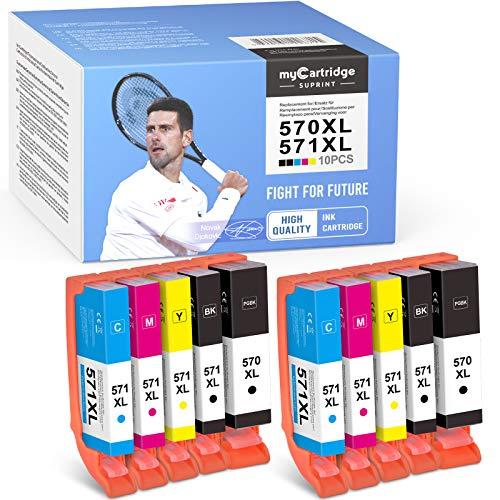 myCartridge SUPRINT 10 cartuchos de tinta compatibles PGI-570XL CLI-571XL para Canon PIXMA TS5050 MG5750 TS5051 TS5055 TS6050 MG6800 MG6850 MG6852