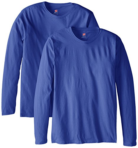 Hanes Men's Long Sleeve Nano Cotton Premium T-Shirt (Pack of 2), Deep Royal, Medium