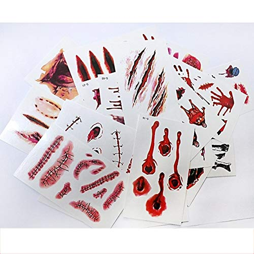 LXJ Halloween Horror Grappige Tattoo Stickers Nep Littekens Geplaatst Simulatie Mes Littekens Geplaatst Nep Wond Stickers Make-up Props