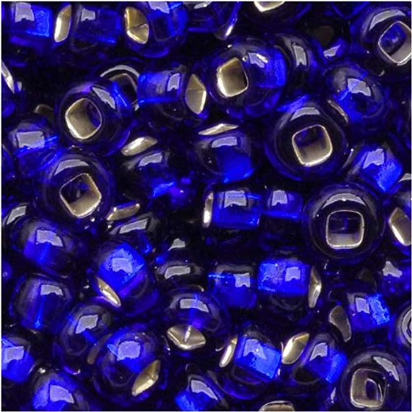 Jablonex Czech Seed Beads 8/0 Silver Foil Lined Cobalt Blue (1 Ounce)