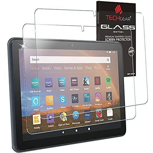 TECHGEAR [2 Stück Panzerglas Kompatibel mit Neu Amazon Fire HD 10 / HD 10 Plus Tablette (2021 11. Generation) Bildschirmschutz Folie aus gehärtetem Glas [9H Festigkeit] [Crystal Clarity] [Keine Bubble]