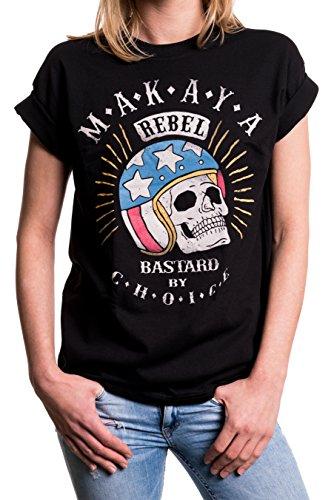 MAKAYA Vintage Top Talla Grande Manga Corta - Calavera con Casco - Camiseta Moto para Mujer con Mensaje Negro XXL