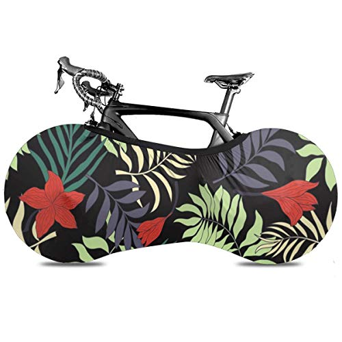 Forma curvada Rojo Negro Portátil Cubierta de Bicicleta Interior Anti Polvo Alta Elástica Rueda Cubierta De Bicicleta De Protección Rip Stop Neumático Carretera Mtb Bolsa De Almacenamiento, Hojas de colores, talla única