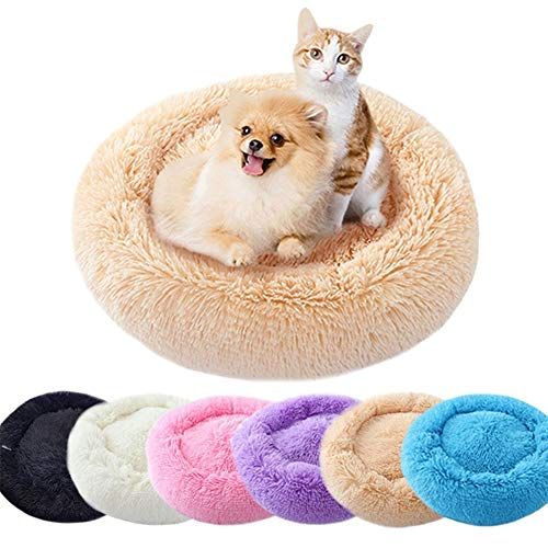 UBRAVOO Hundebett, extra weich, waschbar, bequem, Haustierbett, Sofa, wasserdicht, rund, Plüsch, Donut-Nistbett, Kissen oder ovales Donut-Nistbett (mehrere Größen)