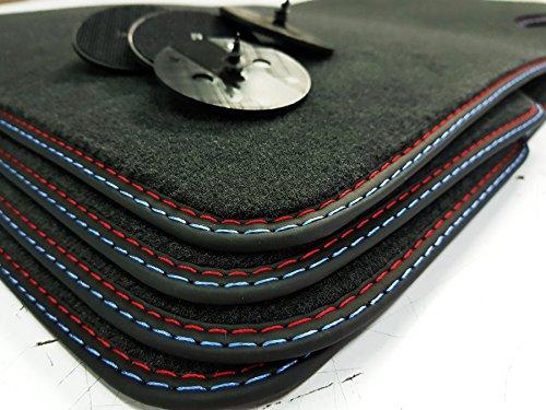 styling-4youcar Automatikgetriebe Fußmatten 5er E60 E61 Bj.2003-2010 Doppelnaht Rot-Blau +4 Klett