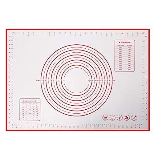 Große Antihafte Backmatte/Backunterlage Silikon rutschfeste Teigmatte Ausrollmatte Silikonmatte Backfolie Backpapier Arbeitsmatte mit Messung 60x40cm für Fondant Pizza Brot Matte, BPA Frei (red)