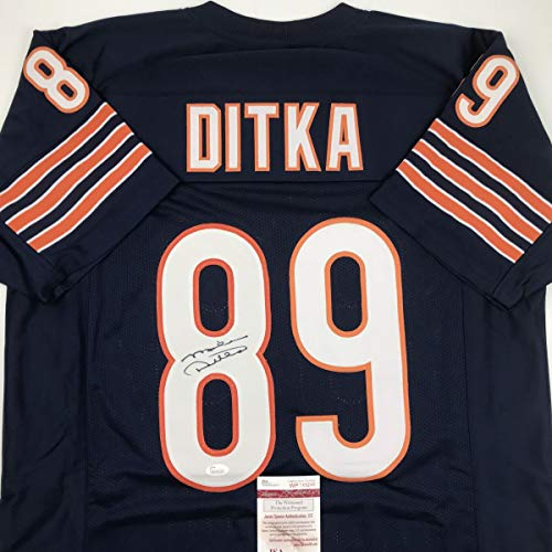 Autographed/Signed Mike Ditka Chicago Blue Football Jersey JSA COA