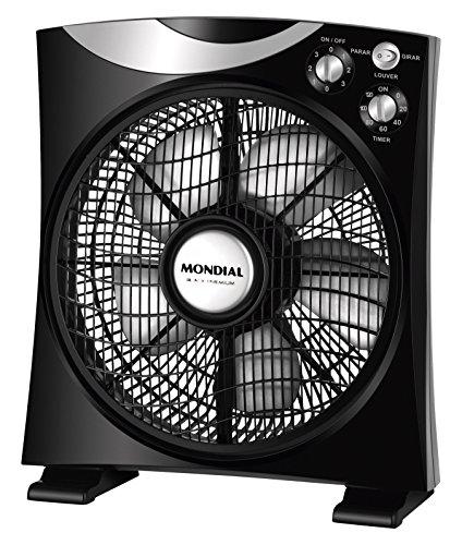 Mondial - Ventilador de suelo con 5 aspas (CA04), Potencia: 40 W, Gran caudal de aire, Dispone de temporizador, Funcionamiento de hasta 12.000 horas seguidas, Incluye interruptor: ON/OFF, Color: Negro