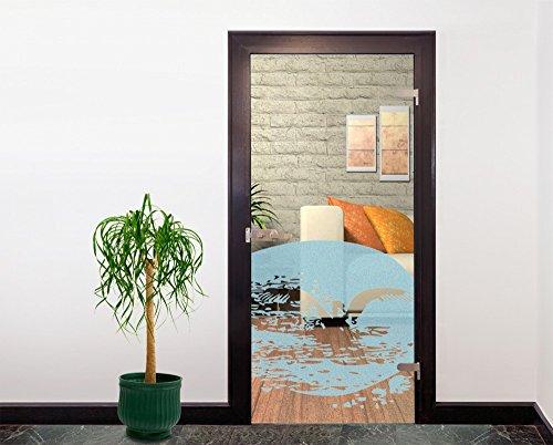 Glasdekor Türfolie Milchglas See mit Pelikan II 90 x 90 cm | Lichtblau - Badezimmer Dusche Büro Glastür Fenster Büro Balkon - Sichtschutz Blickdicht selbstklebend