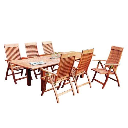 MERXX Gartenmöbel-Set aus Holz, 6 Klappsessel und Ausziehtisch