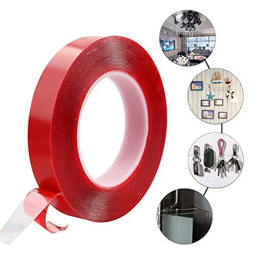 10M doppelseitiges Klebeband aus PET, stark klebend, für dauerhaft starke Verbindungen im Innen- und Außenbereich. (Rot1)