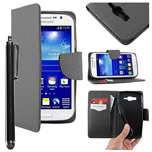 ebestStar - Cover Compatibile con Samsung Grand Plus Galaxy GT-i9060I, Grand Lite Custodia Portafoglio Pelle PU Protezione Libro Flip + Penna, Nero [Apparecchio: 143 x 77.1 x 9.6mm, 5.0'']