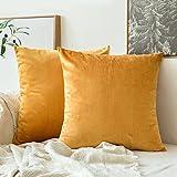 MIULEE Pack de 2 Terciopelo Suave Funda de Cojín Decorativo Cuadrado Manta Funda de Almohada para Sofá Dormitoriocon Cremallera Invisible, 18x18,45x45cm, Golden
