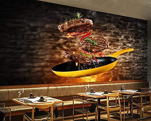XLXBH 3D-behang, zelfklevend, voor vlees, zout, keuken, restaurant, bar, café, restaurant 520x290 cm (WxH) 11 rayas - autoadhesivas