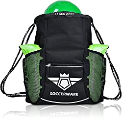 A Black Soccer Backpack & Ball Carrier Bag Holding a Green Football And Green Football Boots