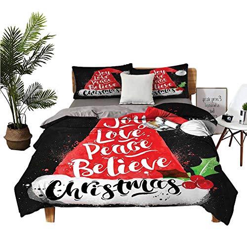 DRAGON VINES Juego de sábanas de cuatro piezas para niños pequeños con letras Joy Love Peace Believe Acuarela Estilo Vintage Negro Rojo Blanco Apartamento Dormitorio W85 xL85