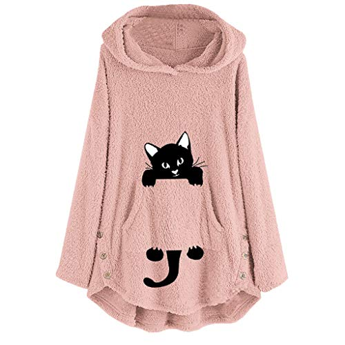 Fairy Costume Damen Plus Size Katze Stickerei Winter Wärme Softshell Pullover Flauschige Kapuzenpullover Mantel Fleece Fell Hoodie Sweatshirt Mantel Parka