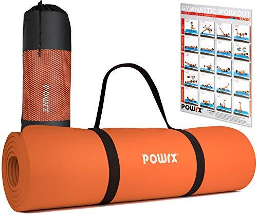 POWRX Colchoneta Fitness Antideslizante 183 x 60 cm - Esterilla Ideal para Yoga, Pilates y ginnasia - Extra Suave de 1 cm de Grosor - Ecológica con Cinta para Transporte y Funda + Poster (Orange)